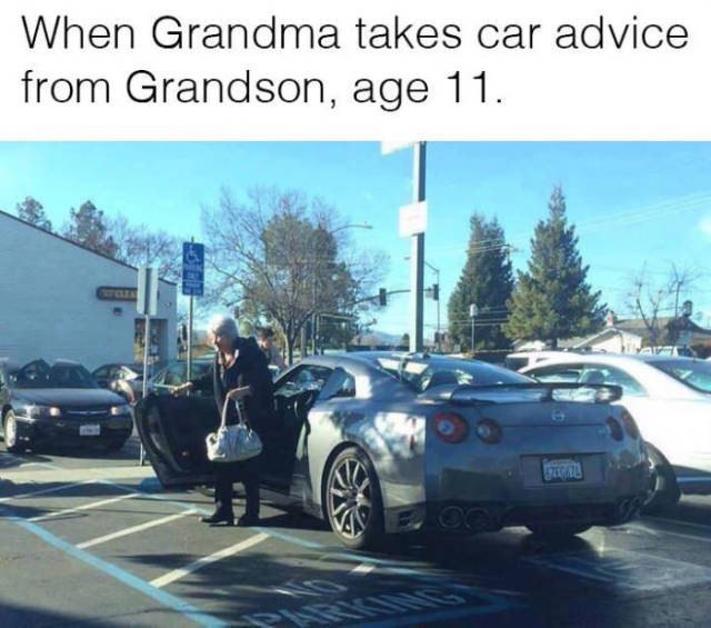 When grandma takes car buying advice from her 11-year-old grandson.