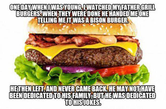 Dad gives his son a bison burger...