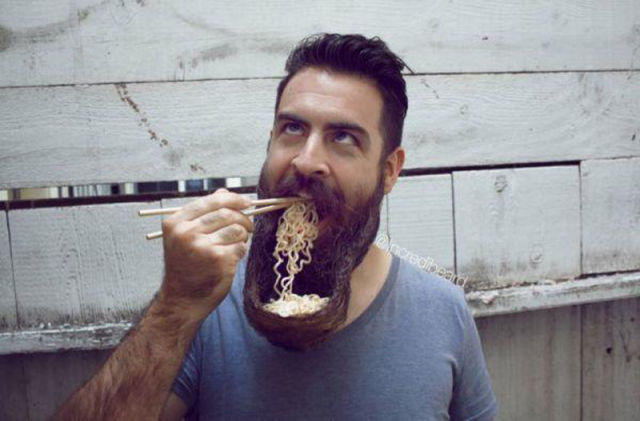 Who needs a bowl when you can use your beard?