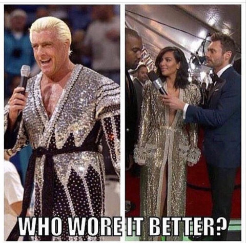Who wore it better? Kim Kardashian or The Nature Boy Ric Flair.