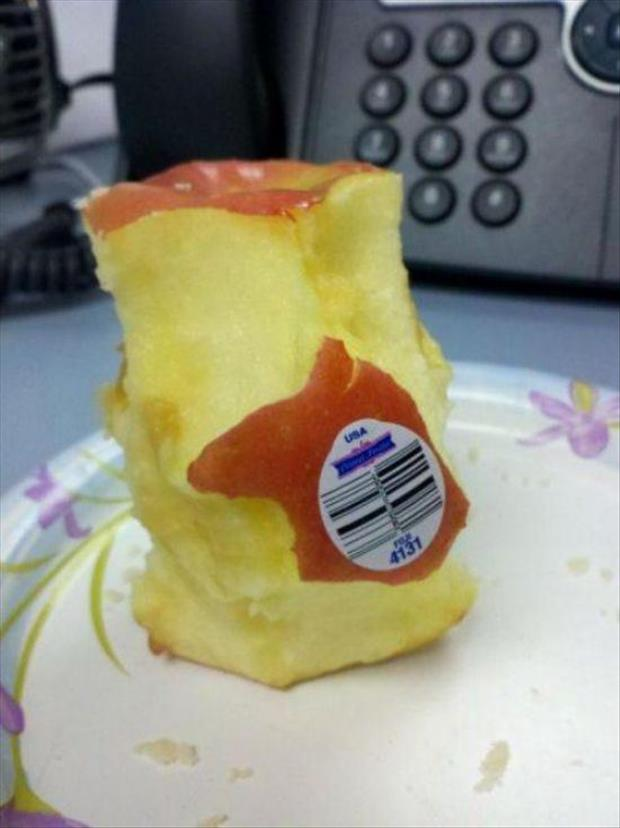 Why peel off the label when you can just eat around it?