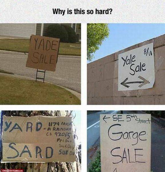 Yard sale and garage sale signs. Why is this so hard?