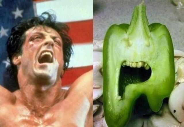 Yo Adrian, I did it! A bell pepper that very much resembles Rocky Balboa.